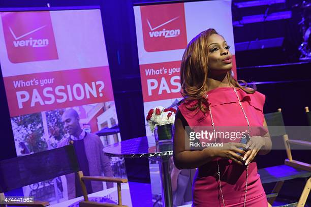 Correspondent Josina Anderson speaks as Verizon Takes The Big Pay Off to Atlanta Celebrating Consumers with a Special Exclusive Performance by...