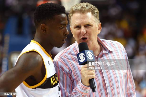 Correspondent Michael Rapaport speaks to Frank Session of Killer 3s during week four of the BIG3 three-on-three basketball league at Barclays Center...