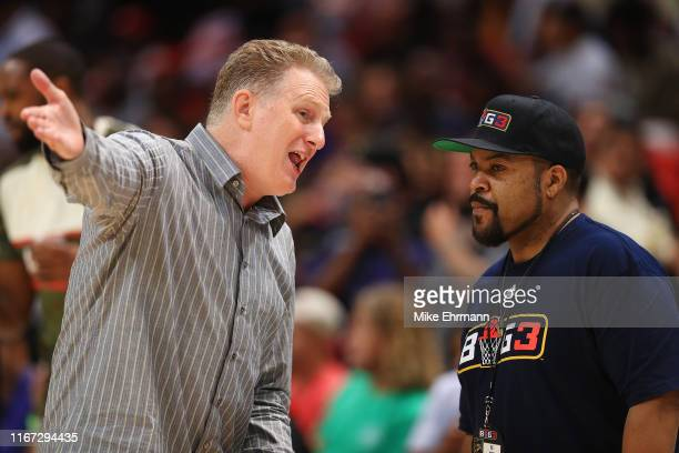 Correspondent Michael Rapaport talks with BIG3 cofounder Ice Cube during week eight of the BIG3 three on three basketball league at AmericanAirlines...