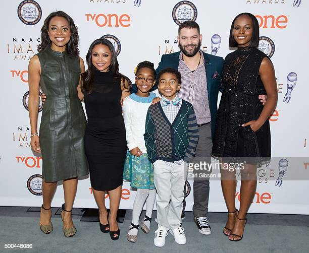Correspondent Nischelle Turner Actress Danielle Nicolet Actress Marsai Martin Actor Miles Brown Actor Guillermo Diaz and Actress Tika Sumpter attend...