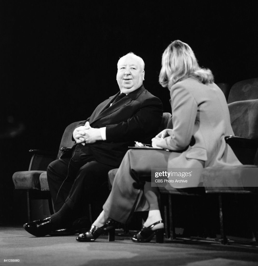 TV correspondent, Pia Lindstrom (right) interviews Film director Alfred Hitchcock (left) for the performing arts television program, 'Camera Three.' Episode: The Illustrated Alfred Hitchcock (part 1) originally broadcast on July 16, 1972. Lindstrom is the first child of actress Ingrid Bergman. Image dated: June 12, 1972 New York, NY.
