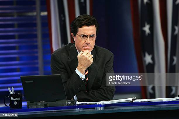 Correspondent Steve Colbert appears during live Election Night coverage of The Daily Show with Jon Stewart November 2 2004 in New York City
