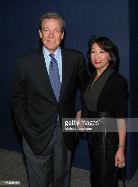 TV Correspondents and husband/wife Maury Povich and Connie Chung arrive to a special NY screening of Feast of Love outside the Dolby 88 Screening...
