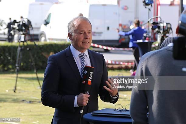Corresponder is seen on his duty at G20 Turkey Summit Compound during G20 Turkey Leaders Summit on November 16, 2015 in Antalya, Turkey.