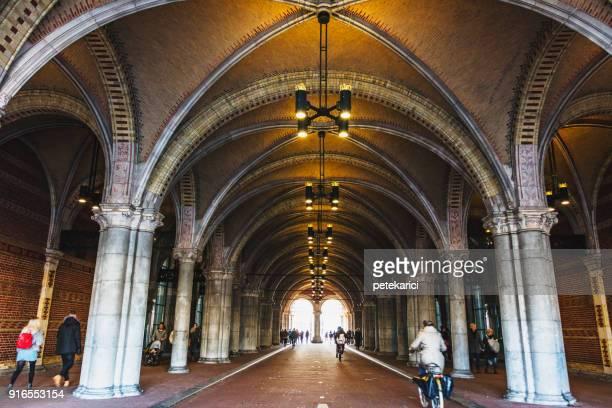 corridor, amsterdam, netherlands - rijksmuseum stock photos and pictures