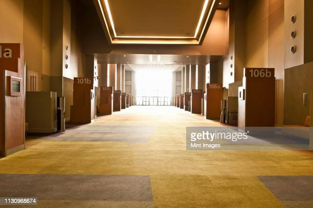 corridor in conference center - convention center stock pictures, royalty-free photos & images