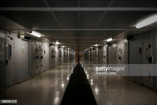 A corridor is pictured on December 14 2017 at the FleuryMerogis prison the largest prison in Europe located in the town of FleuryMerogis some 30 kms...