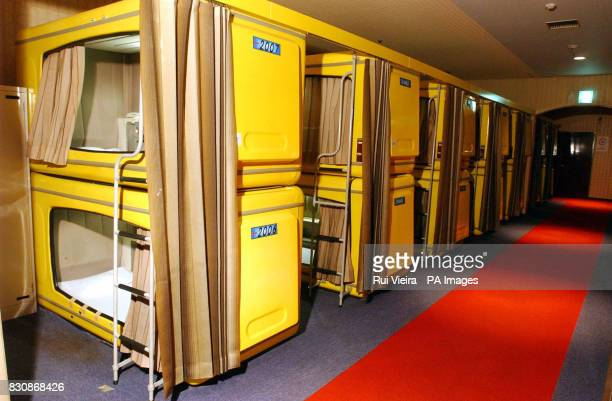 Corridor of capsule beds at the Refre Hotel Sapporo Japan The Refre Hotel will provide alternative accommodation for World Cup fans unable to find...