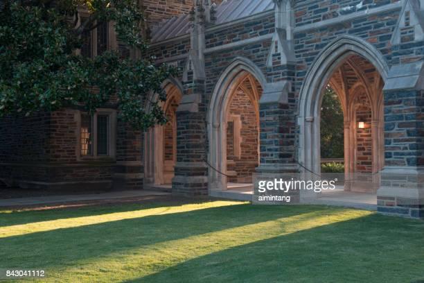 corridor of duke university chapel - chapel stock pictures, royalty-free photos & images