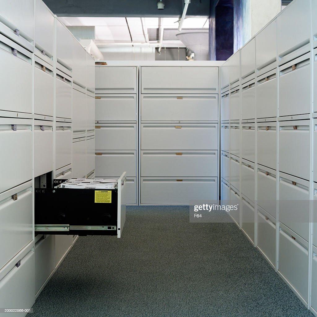 Corridor of file cabinets, office interior : Stock Photo