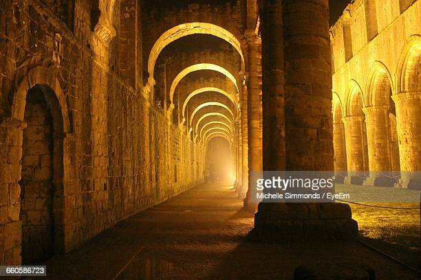 Corridor Of Fountains Abbey At Night
