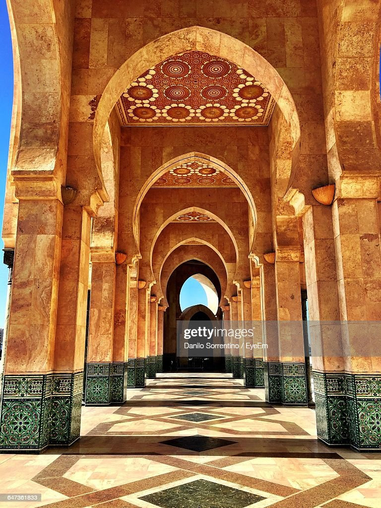 Corridor Of Hassan Ii Mosque : Stock Photo