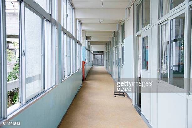 corridor of the japanese school - elementary school stock pictures, royalty-free photos & images