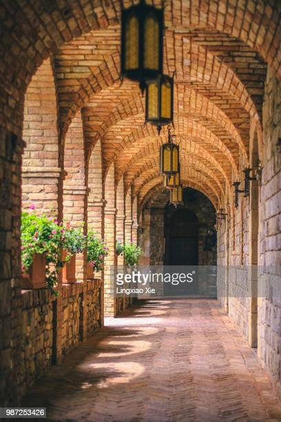 corridor - cloister stock pictures, royalty-free photos & images