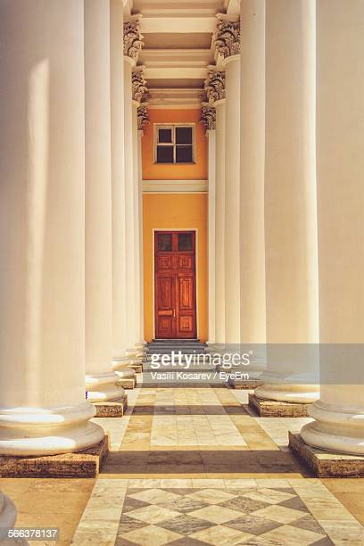 Corridor To Door With Architectural Columns