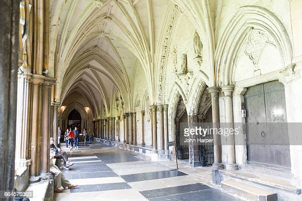 corridor, westminster abbey, london - westminster abbey stock pictures, royalty-free photos & images