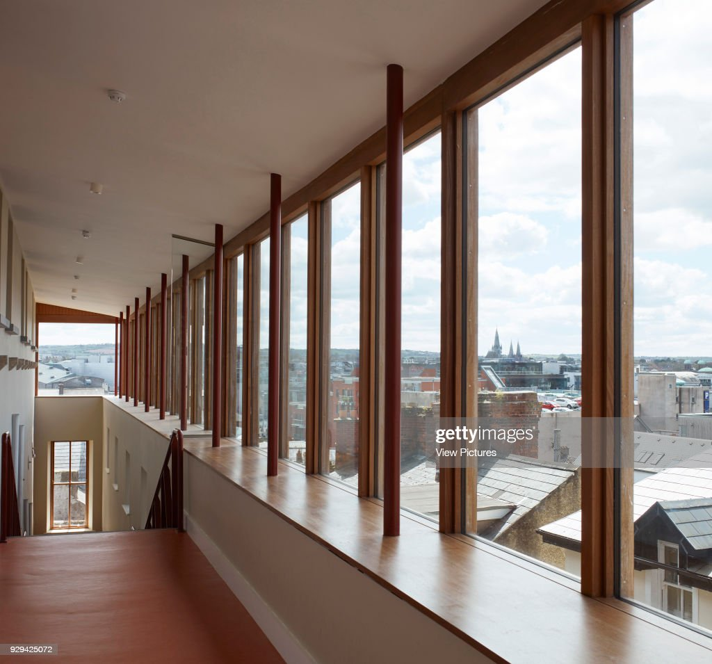 corridor with glazed gallery towards city st angelas college cork cork ireland