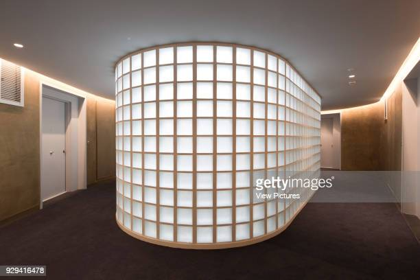 Corridor with internal glass brick lightwell Housing Building Quai Henri IV Paris France Architect LIN 2015
