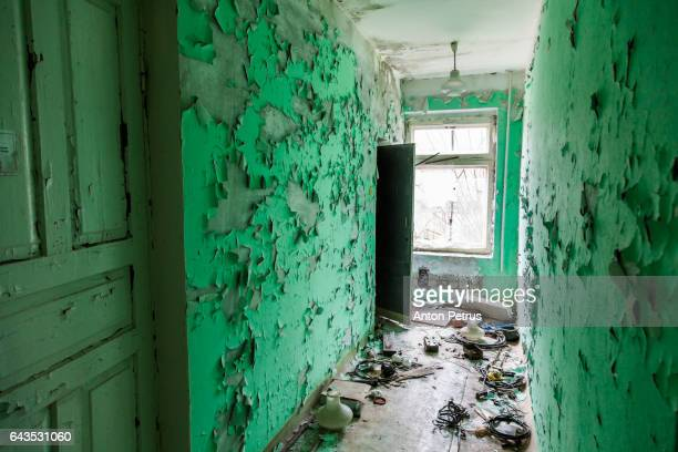 Corridor with the old paint in an abandoned kindergarten. Prypiat, Ukraine