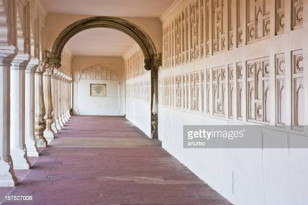 corridor with white columns at the Agra fort