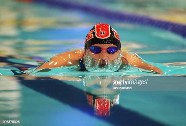 Corrie Scott of edinburgh University competes in the Women's 100m Breaststroke Final during The Edinburgh International Swim meet incorporating the...