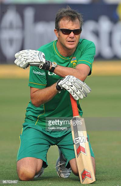 Corrie van Zyl of South Africa looks on prior to play during day two of the Second Test match between India and South Africa at Eden Gardens on...