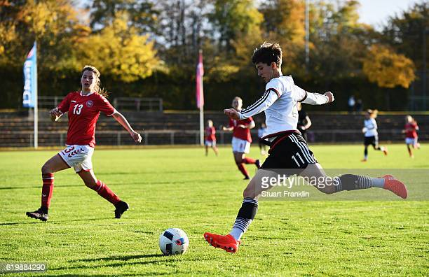 Corrina Statz of Germany is challenged by Amalie Littau of Denmark during the International Friendly match between U16 Girl's Germany and U16 Girl's...