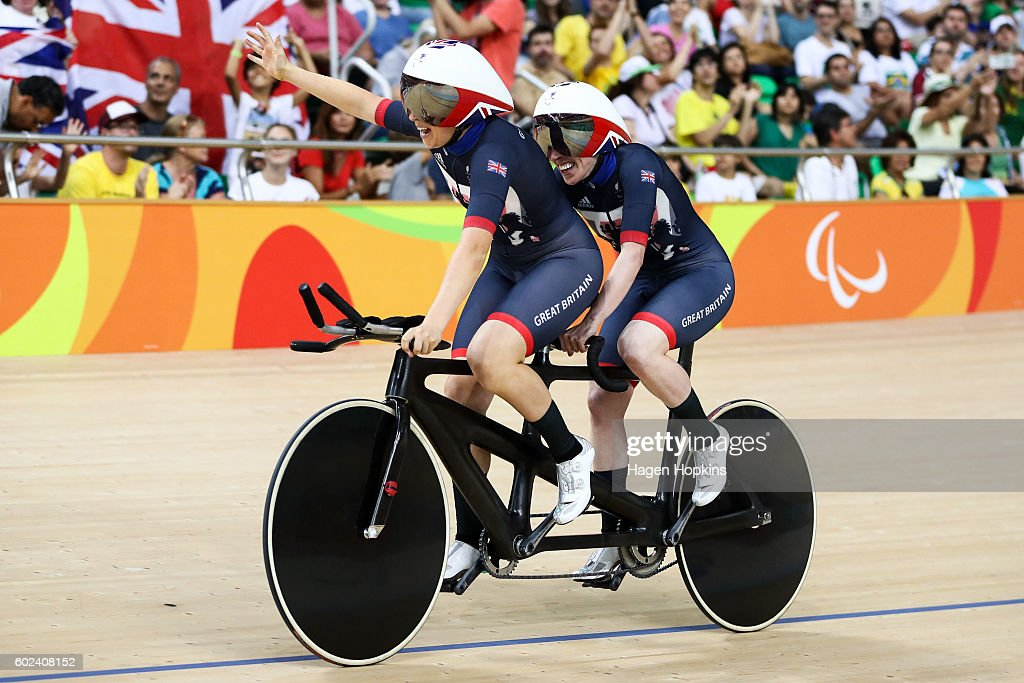 Corrine Hall and Lora Turnham of Great Britain celebrate after winning gold in the Women's B 3000m Individual Pursuit Final on day 4 of the Rio 2016 Paralympic Games at Rio Olympic Velodrome on September 11, 2016 in Rio de Janeiro, Brazil.