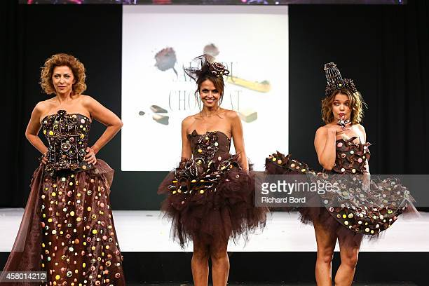 Corrine Touzet Cali Morales and Severine Ferrer walk the runway and wear a chocolate dress made by stylist Manon BressonCancel and chocolate makers...