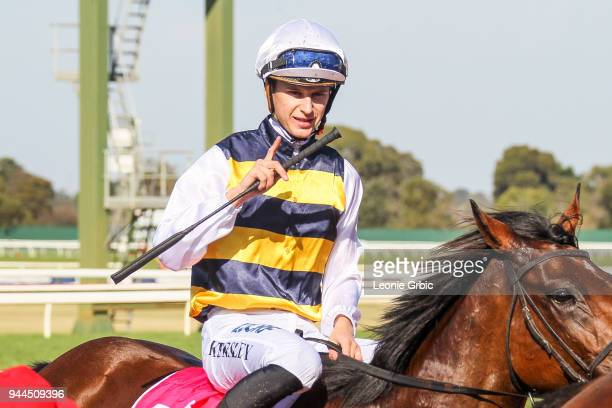 Corrs ridden by Fred Kersley returns after winning the Dream Thoroughbreds Handicap at Ladbrokes Park Lakeside Racecourse on April 11 2018 in...