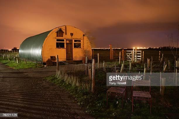 Corrugated Iron Building, Night, Military Firing Range, Severn Beach, Bristol, England, UK