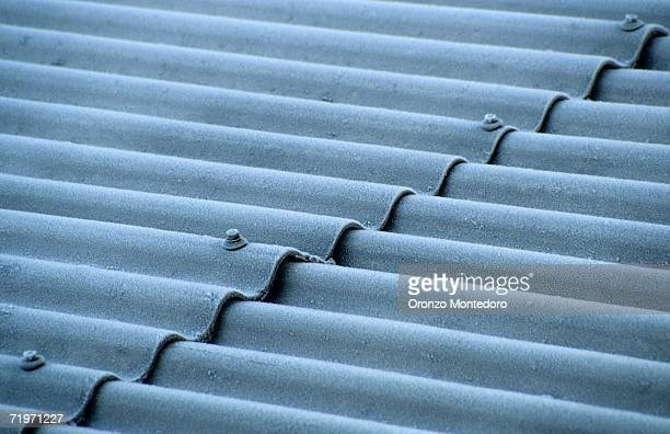 Corrugated sheet roof, close-up