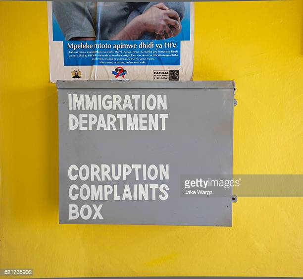 corruption complaints box in nairobi airport - jake warga stock pictures, royalty-free photos & images