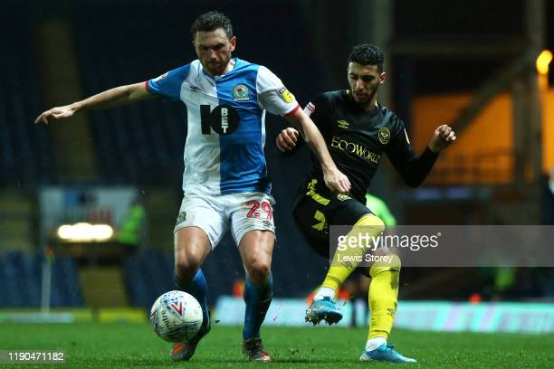 Corry Evans of Blackburn Rovers wins the ball from Said Benrahma of Brentford during the Sky Bet Championship match between Blackburn Rovers and...
