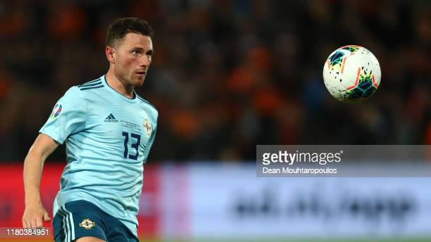 Corry Evans of Northern Ireland in action during the UEFA Euro 2020 qualifier between Netherlands and Northern Ireland on October 10, 2019 in...