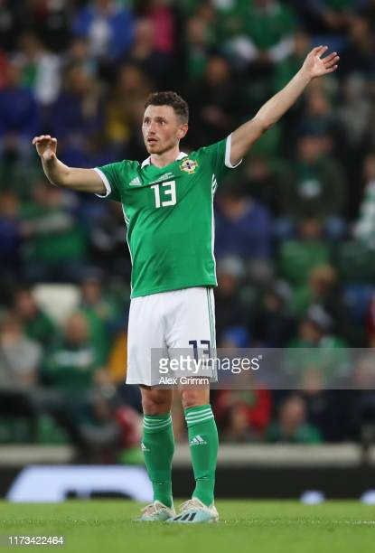 Corry Evans of Northern Ireland reacts during the UEFA Euro 2020 qualifier match between Northern Ireland and Germany at Windsor Park on September...
