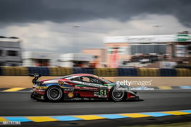 Corse #51 Ferrari 488 GTE with Drivers Gianmaria Bruni James Calado and Alessandro Pier Guidi during the 84th running of the Le Mans 24 Hours on June...