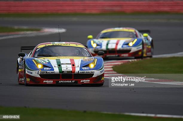 Corse cars driven by Gianmaria Bruni of Italy and Toni Vilander of Finland with team mates Davide Rigon of Italy and James Calado of Great Britain in...