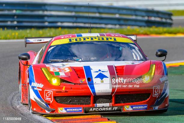 Corse Ferrari 458 GTE race car driven by F PERRODO / E COLLARD / R AGUAS on track during the 6 Hours of SpaFrancorchamps race the second round of the...