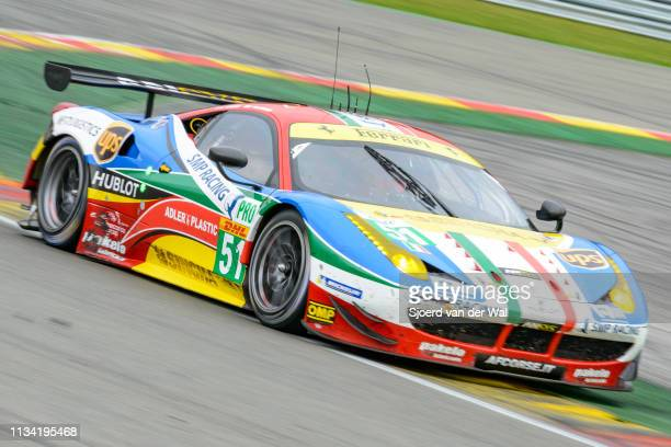 Corse Ferrari 458 Italia GT race car drivne by BRUNI G VILANDER T driving on track during the 6 Hours of SpaFrancorchamps race the second round of...