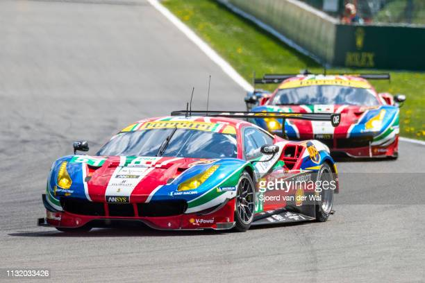 Corse Ferrari 488 GTE race car of Alessandro Pierguidi/ James Calado on track during the 6 Hours of Spa-Francorchamps race, the second round of the...