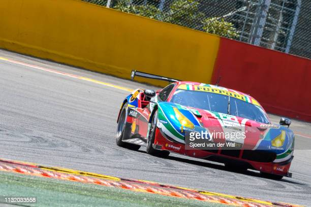 Corse Ferrari 488 GTE race car of Alessandro Pierguidi/ James Calado driving on track during the 6 Hours of SpaFrancorchamps race the second round of...