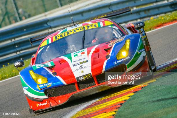 Corse Ferrari 488 GTE race car of Alessandro Pierguidi/ James Calado on track during the 6 Hours of SpaFrancorchamps race the second round of the...