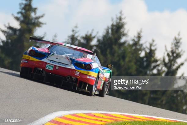 Corse Ferrari 488 GTE race car of Sam Bird and Davide Rigon on track during the 6 Hours of Spa-Francorchamps race, the second round of the 2016 FIA...