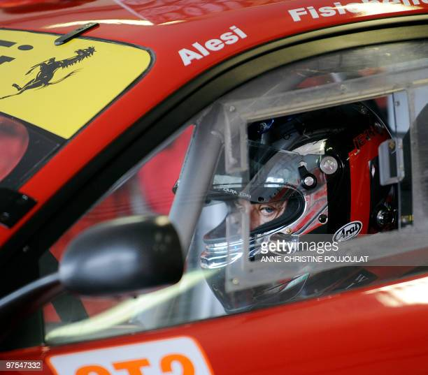 AF Corse team's French pilot Jean Alesi waits in his Ferrari F430 GT during the official testing of the Le Mans Series on March 8 2010 at Paul Ricard...