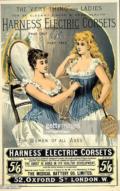 A corset advertisement 1891 Two women wearing the Harness electric corset one tying the bodice of the other Patented in 1891 the batterydriven...