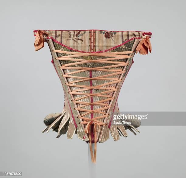 Corset, European, 1750–75, silk, cotton, wood, baleen.