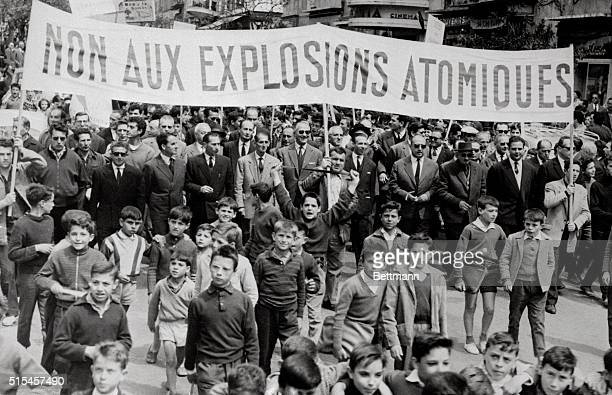 Corsicans young and old march through the streets here May 2nd to protest against any proposed underground nuclear test explosions in Corsica. The...