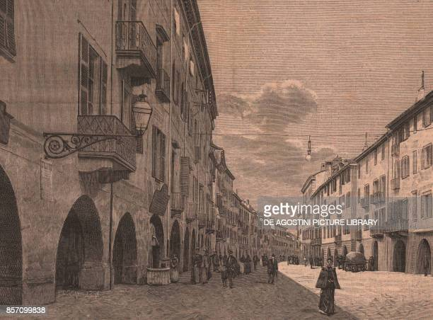 Corso Nizza, Cuneo, Piedmont, Italy, woodcut from Le cento citta d'Italia , illustrated monthly supplement of Il Secolo, Milan, 1888.