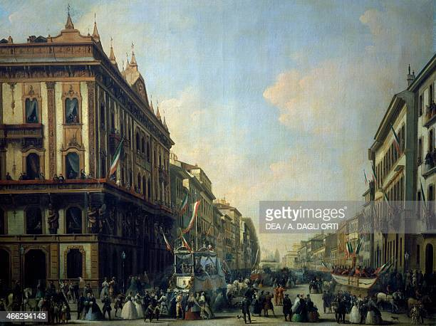 Corso Venezia in Milan with carnival scenes painting by Giuseppe Mazzola oil on canvas 93x119 cm